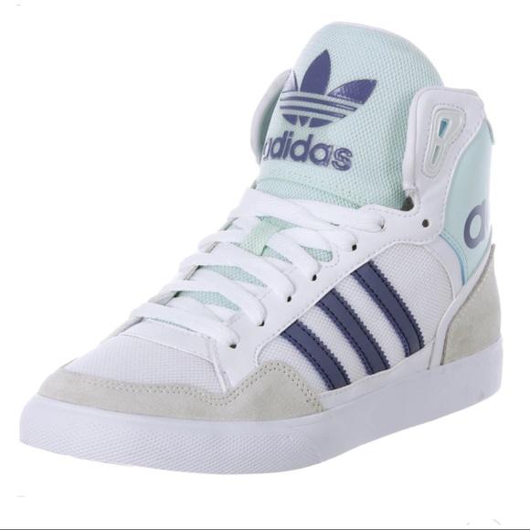 le adidas extaball sneakers alte 7 bianco blu poshmark